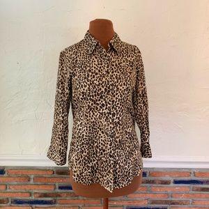 Leopard button down blouse